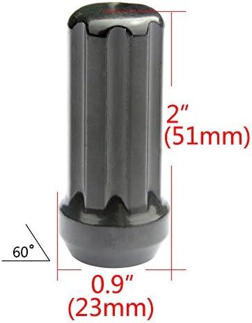 GDSMOTU ホイールラグナット 32個 7スプラインどんぐり 9/16インチ-18インチ フォードF250 F350 ダッジラム1500 2500 3500用 高さ2インチ 幅0.9インチ キー2個