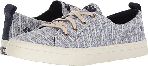 Casual Stripe Sneakers (Sperry Top-Sider Women's Crest Vibe Painterly Stripe Sneaker, Navy, 8 Wide US)