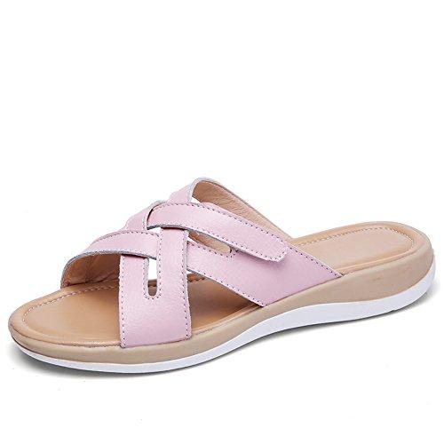 Sandals Genuine Women's Pink Leather Caroo Handmade PFIEqxz