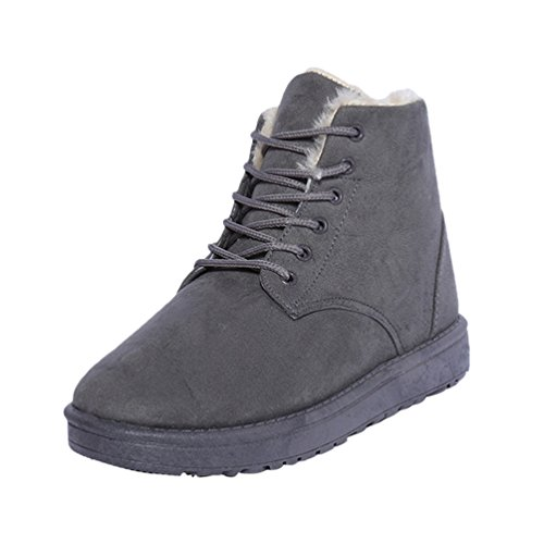 Dooxi Womens Winter Warm Snow Boot Lace Up Walking Shoes Non-slip Ankle Martin Boots Gray LIuzL