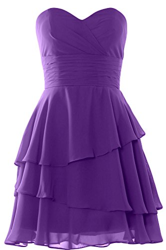 MACloth Women Strapless Tiered Cocktail Bridesmaid Dress Wedding Formal Gown Morado