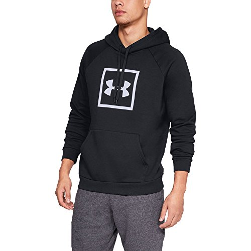 Under Armour Men's Rival Fleece Logo Hoodie, Black (001)/White, Large (Black Hoodie Big Logo)
