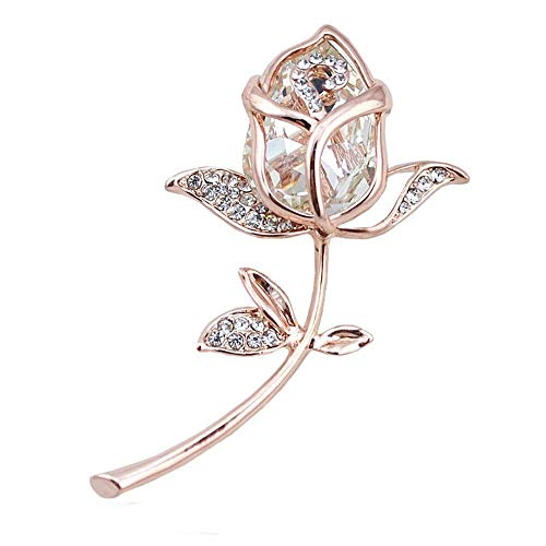 TULIP LY Created Crystal Brooch Crystal Rhinestone Rose Flower Fashion Pin Gift Women Girls Rose Gold (White)