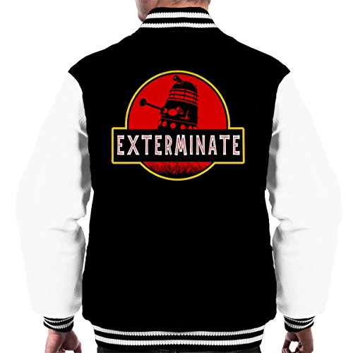Who white Darlek Exterminate Jurassic Men's Dr Varsity Black Jacket Park wHgRBHx