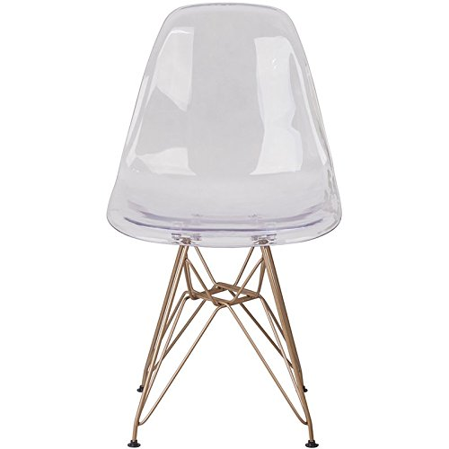 Flash Furniture Elon Series Ghost Chair with Gold Metal Base by Flash Furniture (Image #4)