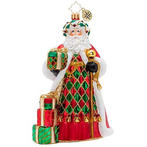 (Christopher Radko Holiday Harlequin Santa Christmas Ornament, red, White, Green)