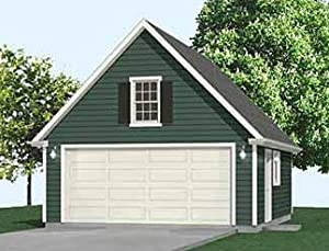 Garage plans 2 car compact steep roof garage plan with for 20 x 24 garage plans with loft