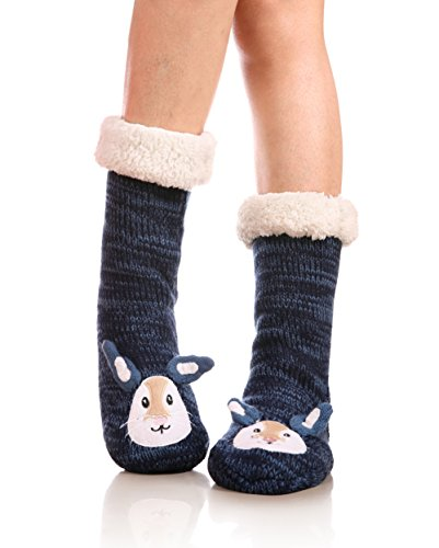 YEBING Women's Cute Knit Cartoon Animal Face Soft Warm Fuzzy Fleece Lining Winter Home Slipper Socks (Rabbit) (Socks Kids Woven)