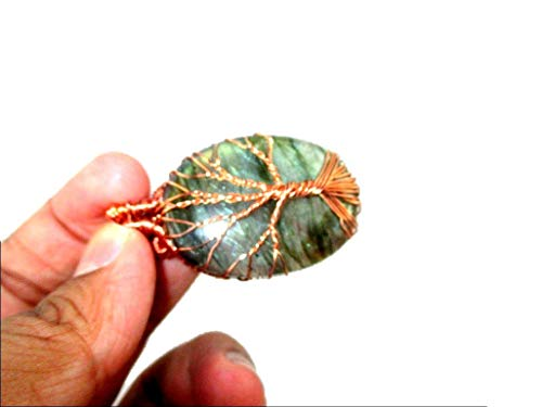 HiJet Beautiful Labradorite Copper Wire Wrapped Tree of Life Oval Pendant Necklace Balancing Positive Energy Harmony Luck Yoga Meditation Reiki Natural Genuine Authentic Fashion Style ()