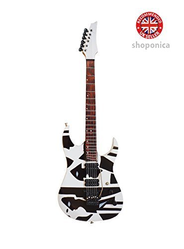 Shoponica \'Dream Theater John Petrucci\' Picasso B/W Holz Miniatur-Gitarre Music Legends