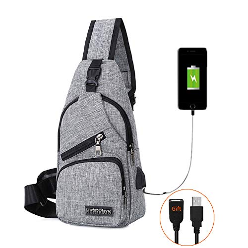 BARHOMO Sling Bag with USB Charging Port Backpacks Bags Crossbody Rope Triangle Pack Rucksack for Hiking or Multipurpose Daypacks (Grey)