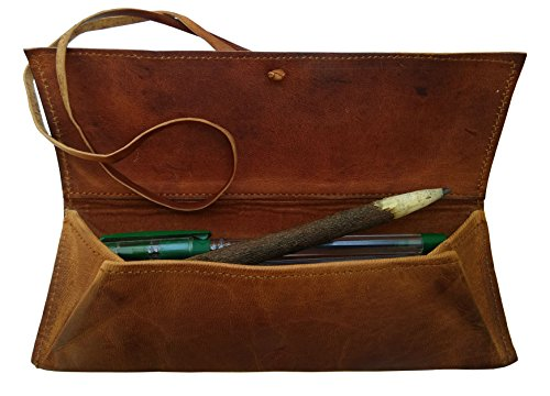 RK Leder nature Genuine Leather Retro Bandage Leather Pen Bag Pencil Case Makeup Pouch(Brown)