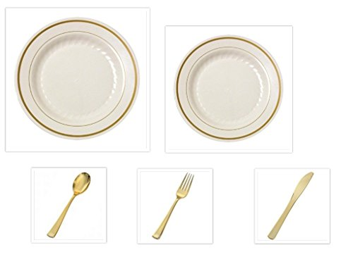 Plastic China Plate Silverware BONE with GOLD Rim