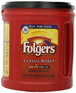 Folgers Classic Roast Ground Coffee, Medium Roast, 38.4 Ounce (Pack of 6)