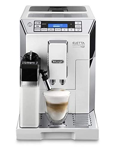 Delonghi super-automatic espresso coffee machine – with an adjustable silent ceramic grinder, double boiler, milk frother for brewing espresso, cappuccino, latte & macchiato, Eletta ECAM 45760