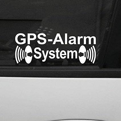 Greenit 2 Stück Weiß Gps Alarm System Aufkleber Die Cut Auto Fenster Tattoo Folie Gespiegelt Innenklebend Auto
