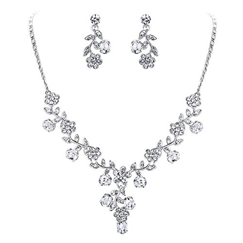 EVER FAITH Wedding Flower Leaf Necklace Earrings Set Austrian Crystal Silver-Tone - Clear