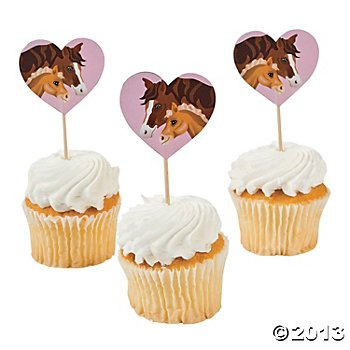 1-X-Horse-Mare-and-Foal-Food-and-Cupcake-Picks-25-pcs