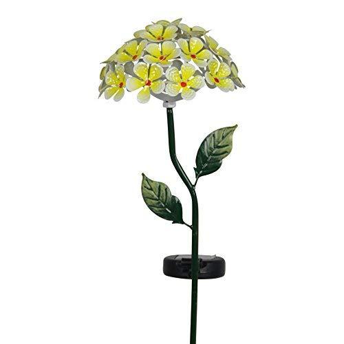 Exhart Hydrangea Garden Stake, 26 LED Lights, Solar Powered, Metal, Yellow, 7