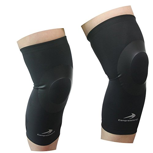 CompressionZ Knee Sleeve (Pair) - Best Compression Knee Brace for Running, Crossfit, Workout, Basketball, Football, Sports Recovery - Support for Joint Pain, Arthritis, Meniscus Tear, Patella Injury