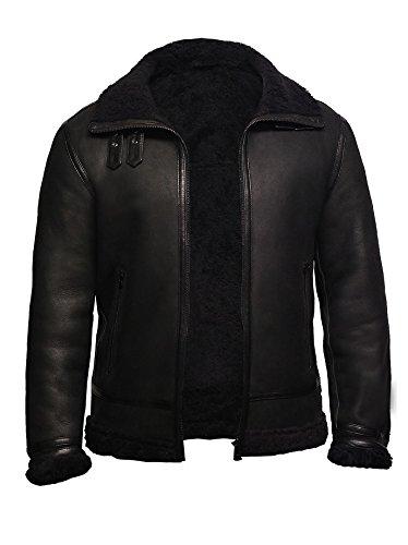 Brandslock Mens Real B3 World War 2 Black Shearling Sheepskin Leather Bomber Jacket Coat (L, (Black Leather Shearling Coat)