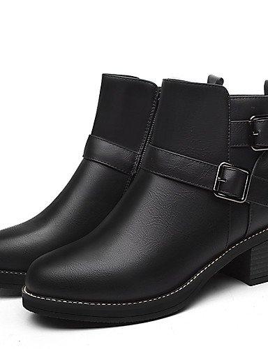 XZZ/ Damen-Stiefel-Büro / Lässig-Kunststoff-Blockabsatz-Cowboy / Western Stiefel-Schwarz / Braun black-us8.5 / eu39 / uk6.5 / cn40