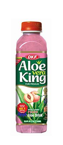 OKF Aloe Vera King Drink, Peach, 16.9 Fluid Ounce (Pack of 20)