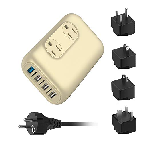 220V/240V to 110V/120V Step Down 230W Voltage Converter and International Travel Adapter Combo for Hair Straightener Flat Iron, Hair Curler, CPAP, Toothbrush, Xbox - [Use USA Electronics Overseas]