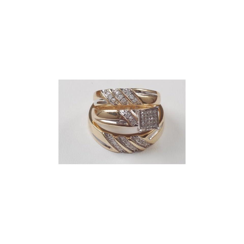 His&hers Engagment Yellow Gold Diamond Ring Trio Set Bn Jewelry