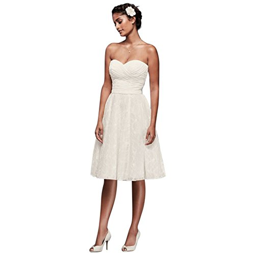 Strapless Lace Short Wedding Dress Style WG3826, Ivory, 10