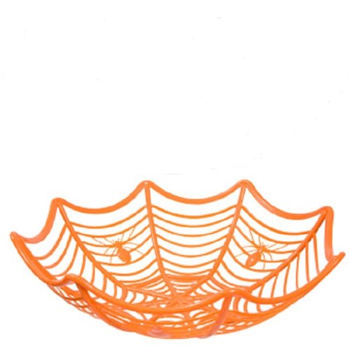 Halloween Plastic Spider Web Bowl - -