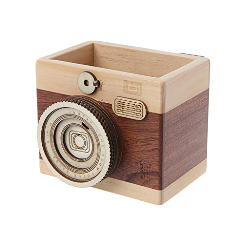 YOUSIKE Camera Pattern Wooden Pen Pencil Case, Pen Holder Stand, Desktop Sundries Storage Box, Multifunctional Desktop Stationery Organiser (S)