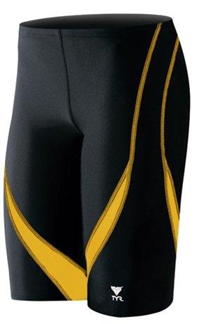 TYR Alliance Splice Jammer Swimsuit, Black/Gold, Size 34