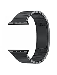 Apple Watch Band - FanTEK Stainless Steel Replacement for iWatch Strap Hand Disassembling Link Bracelet with Double Button Folding Clasp for 42mm Apple Smart Watch (Black)