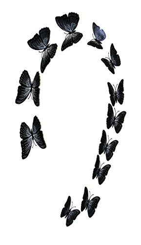 FiveRen 12 Pcs 1 Pack Double Wing 3D Butterfly Wall Stickers, Vivid Fridge Magnet Home Decor Art Applique DIY Crafts Removable for Babys Bedroom TV Background Living Room, Black