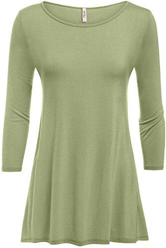 Simlu Sage Tunic Womens 3/4 Sleeve Tunic Tops Basic T Shirt Tunics,Sage,Large