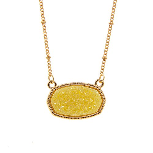 YUJIAXU Sparkling Faux Druzy Oval Pendent Short Necklace for Wedding Gift Jewelry (Gold + Yellow Drusy)