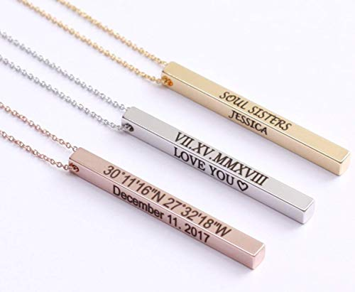 Personalized Vertical Name Bar Necklace, Custom Message Engraved 4 Sided Bar Necklace Charm Stainless Steel Pendant for Couple