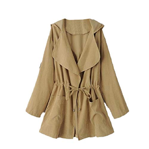 Howme-Women Anorak Outdoor Back Cotton Lapel Neck Overcoat Trenchcoat Khaki