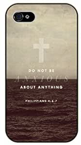 Do not be anxious about anything - Philippians 4:6-7 - Cross, sea - Bible verse iPhone 4 / 4s black plastic case / Christian Verses