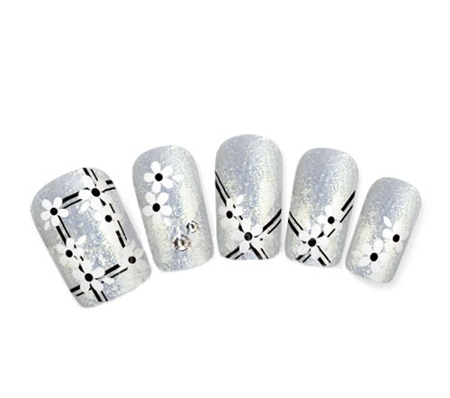 Ottery Beautiful 1 Pcs Nail Stickers Black & White Strip Lines & FlowersNail Tattoo Nail Decals Water Transfer Decals Nail Tips Nail Decoration