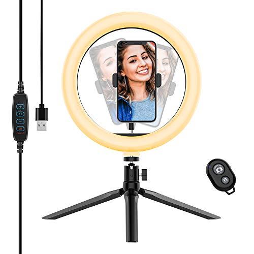 Yoozon 10 Luz de Anillo LED fotografica de Escritorio, 3 Color 10 Brillo, Tripode con Soporte Giratorio de telefono para Transmision en Vivo, Selfie, Maquillaje, Videoconferencia, Youtube, TikTok