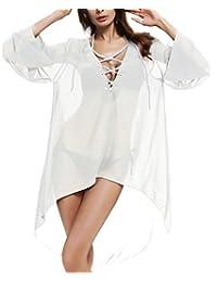 Aixy Sexy Beachwear Long Sleeve V-neck Cover Ups Dresses