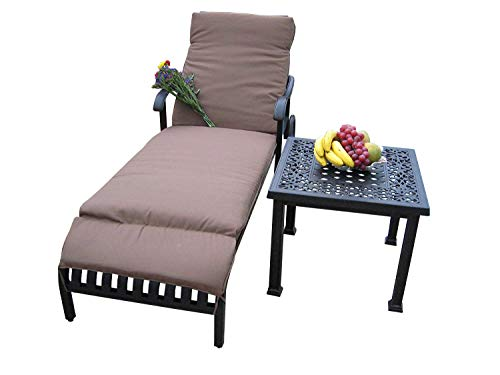 Heaven Collection Cast Aluminum Corner Table for End, Side, Chaise Lounge, Deep -