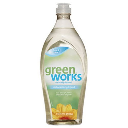 Green Works 31359 Manual Dishwashing Liquid Detergent, Free and Clear Scent, 22 oz. Volume, Ceramic, Corian (Pack of 6)