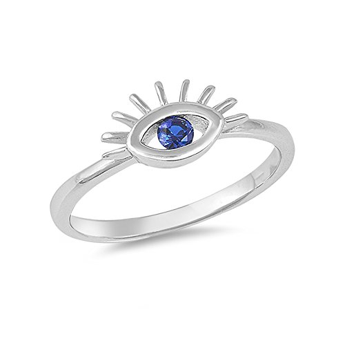 Precious Gem Jewellers .925 Sterling Silver Blue Cubic Zirconia Eye Stackable Ring ()