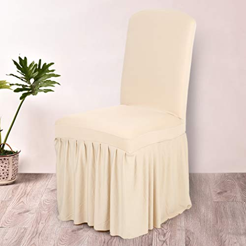 BEOTARU Pleated Ruffled Chair Cover Stretchable Removable Washable Spandex Wedding Hotel Dining Room Seats Slipcover