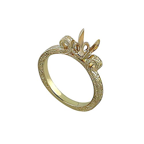 Hand Engraved Engagement Setting (Antique Style 14K Yellow Gold Hand Engraved Crafted And Milgrain Engagement Ring Setting)