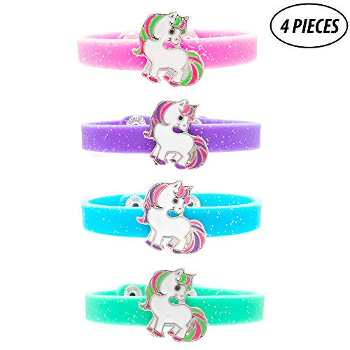 FROG SAC 4 Pcs Unicorn Charm Glitter Silicone Snap Bracelets for Girls - Great Themed Birthday Party Favors for Tween Girl Easter Basket Fillers for Kids]()