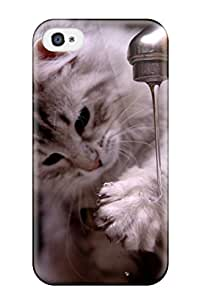 Cute High Quality Iphone 4/4s Cat Playing With Water Case